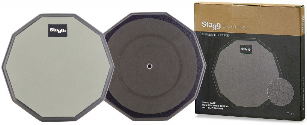 STAGG TD-08R 8 10 SIDED RUBBER PRACTICE PAD