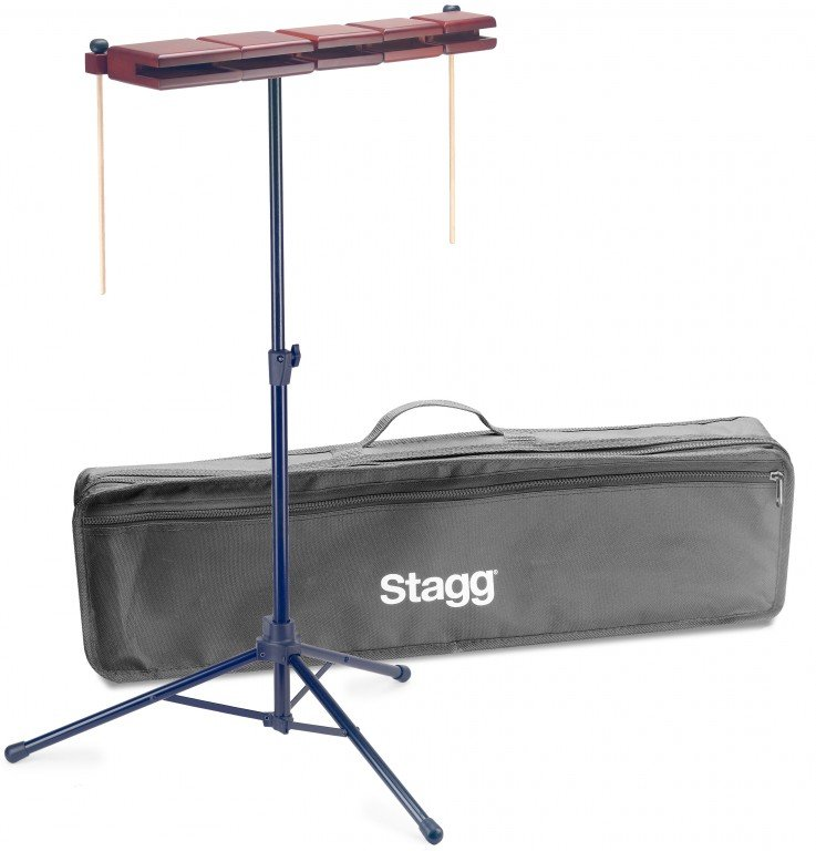 STAGG WB-SET 5B WOOD TEMPLE BLOCK SET W/STAND & BAG