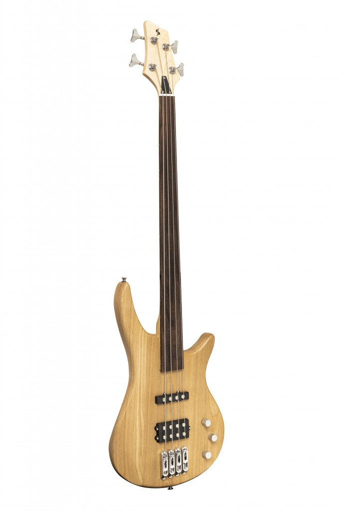 STAGG SBF-40 NAT FL FUSION FRETLESS ELECTRIC BASS GUITAR NATURAL