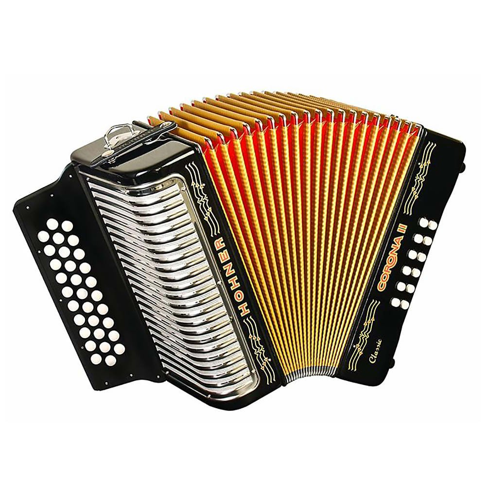 HOHNER 3523EB BUTTON ACCORDION CORONA II CLASSIC MI WITH GIG BAG STRAPS BLACK