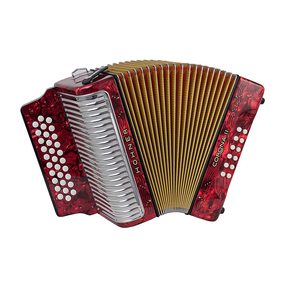 HOHNER 3523ER BUTTON ACCORDION CORONA II CLASSIC MI WITH GIG BAG STRAPS RED