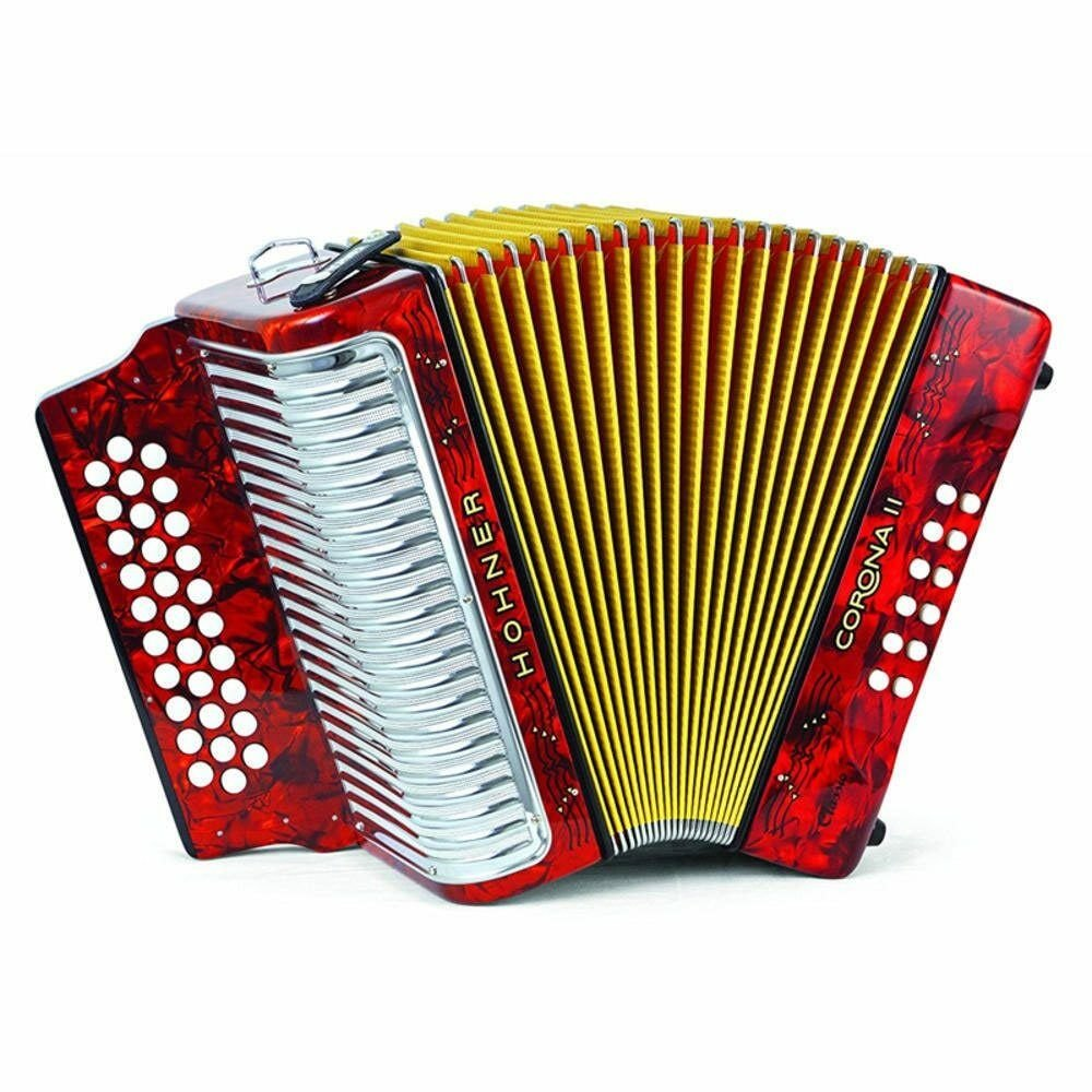HOHNER 3523FR BUTTON ACCORDION CORONA II CLASSIC FA WITH GIG BAG STRAPS RED