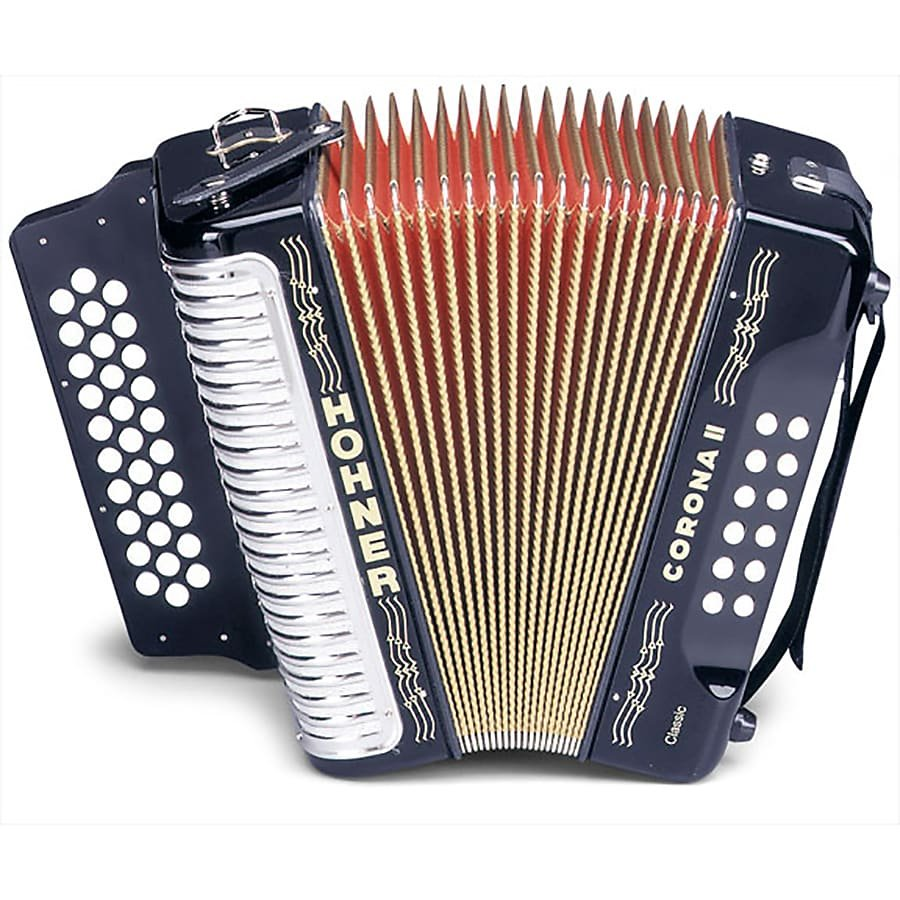 HOHNER 3523GB BUTTON ACCORDION CORONA II CLASSIC SOL WITH GIG BAG STRAPS BLACK