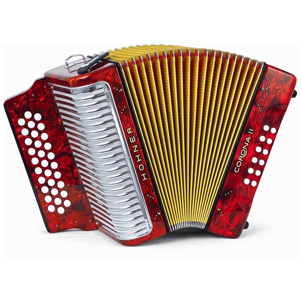 HOHNER 3523GR BUTTON ACCORDION CORONA II CLASSIC SOL WITH GIG BAG STRAPS RED