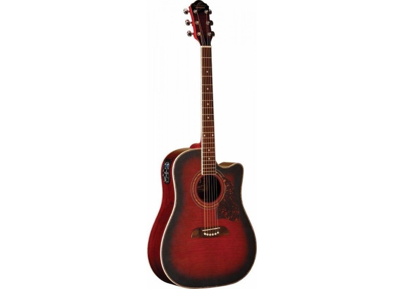 OSCAR SCHMIDT OG2CEFBC DREADNOUGHT ACOUSTIC-ELECTRIC GUITAR FLAME BLACK CHERRY
