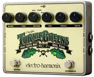 ELECTRO-HARMONIX TURNIP GREENS MULTI-EFFECT COMBINES SOUL FOOD + HOLY GRAIL MAX 9.6DC-200 PSU INCLUDED