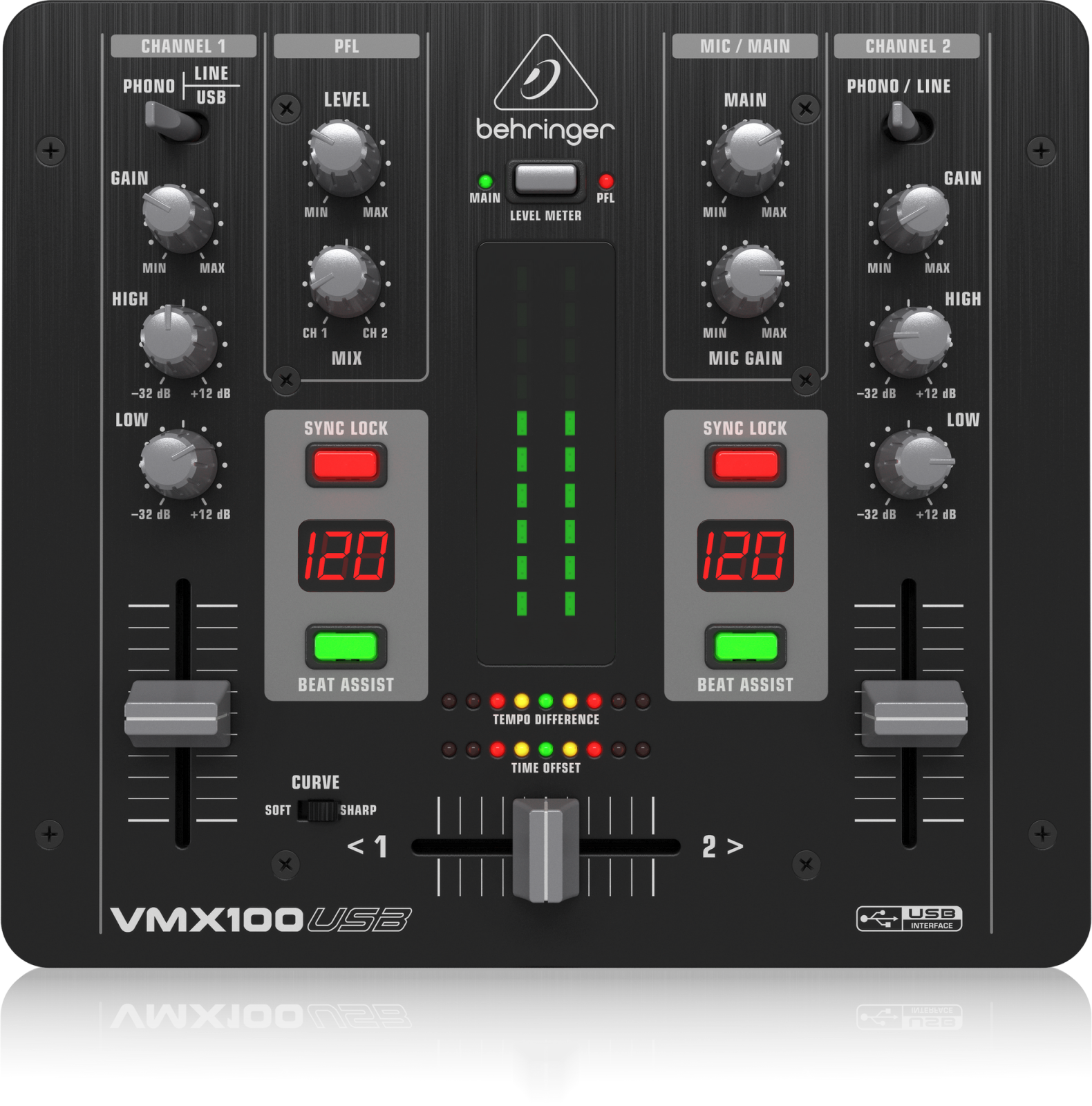 BEHRINGER VMX100USB PROFESSIONAL 2-CHANNEL DJ MIXER W/USB/AUDIO INTERFACE, BPM COUNTER, VCA CONTROL & MASSIVE SOFTWARE BUNDLE