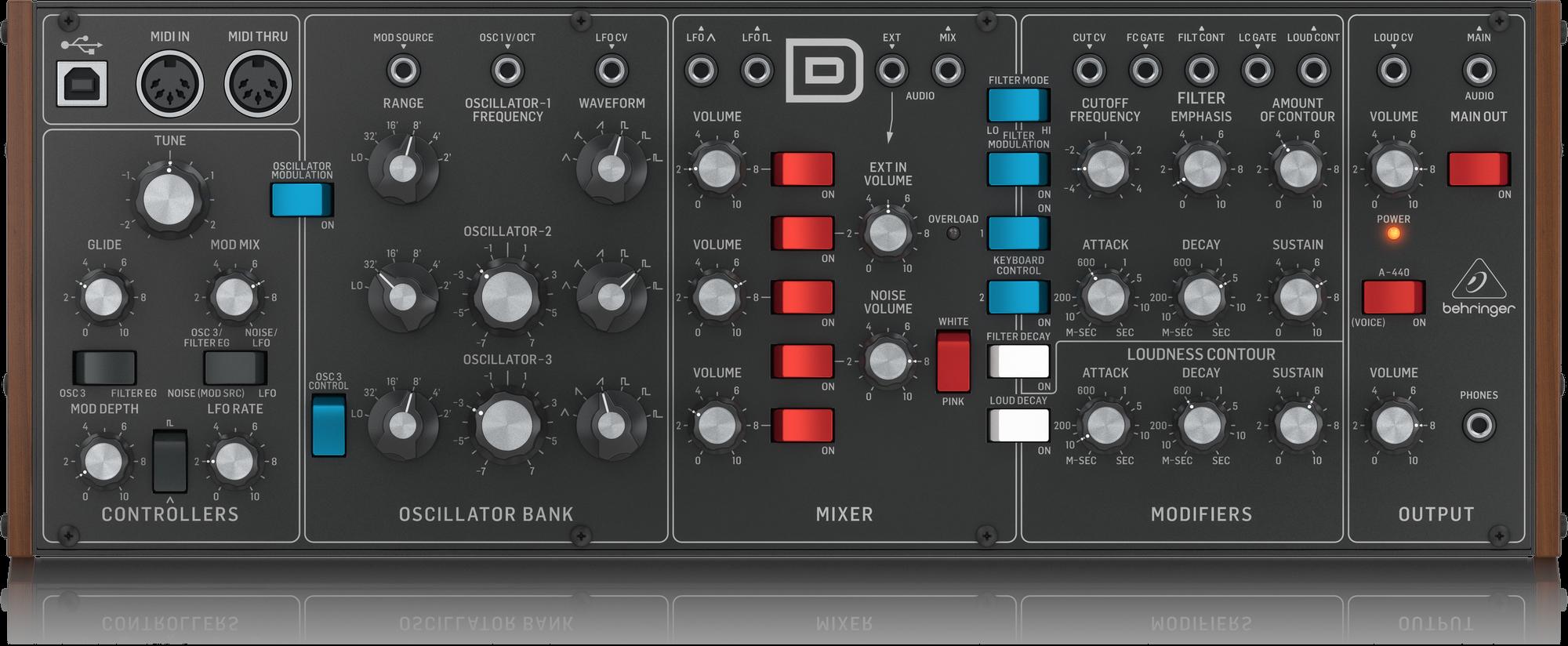 BEHRINGER MODEL D ANALOG SYHTHESIZER MODULE USB/MIDI