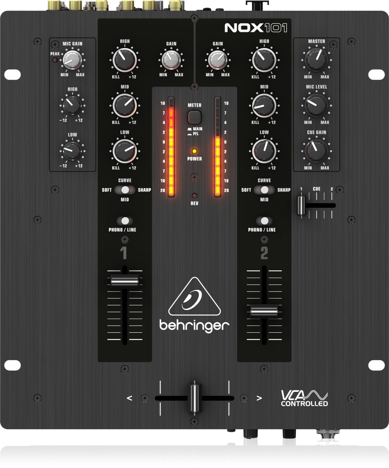 BEHRINGER NOX101 PREMIUM 2-CHANNEL DJ MIXER W/FULL VCA-CONTROL  ULTRAGLIDE CROSSFADER