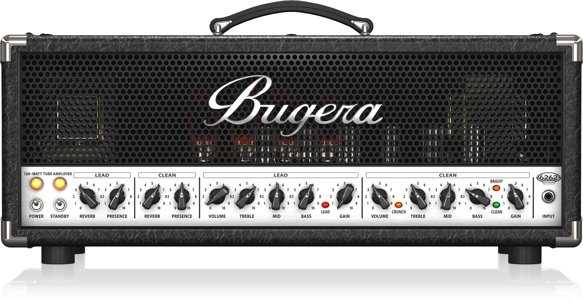 BUGERA 6262 INFINIUM ULTIMATE ROCK TONE 120-WATT 2-CHANNEL VALVE AMPLIFIER HEAD / REVERB & INFINIUM VALVE LIFE MULTIPLIER