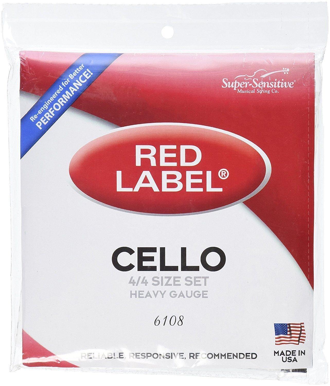 SUPER-SENSITIVE 6108 RED LABEL CELLO STRINGS 4/4 SIZE HEAVY GAUGE