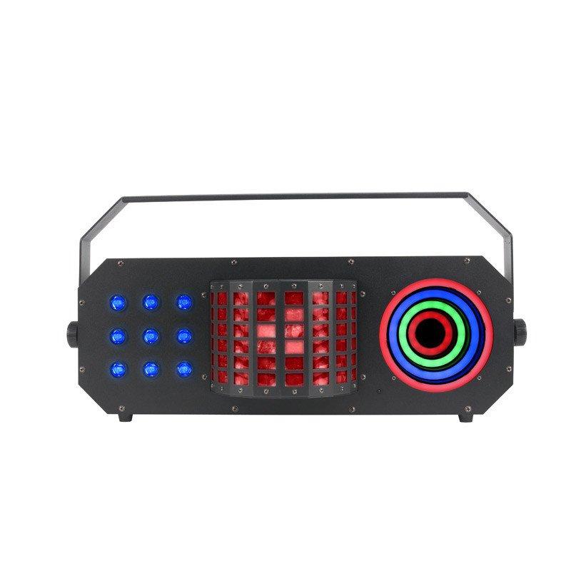 AMERICAN DJ BOO749 BOOM BOX FX3 3-IN-1 LIGHT W/MINI DEKKER, TRI COLOR LED EFFECT & LED VISUAL RING