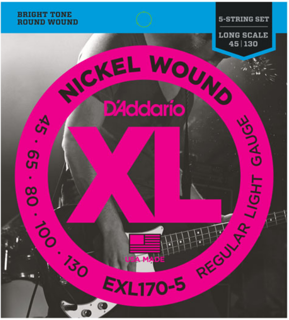 D'ADDARIO EXL170-5 BASS STRINGS (5) LONG SCALE SOFT
