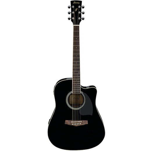 IBANEZ PF15ECEBK PERFORMANCE ACOUSTIC ELECTRIC DREADNOUGHT GUITAR - BLACK HIGH GLOSS