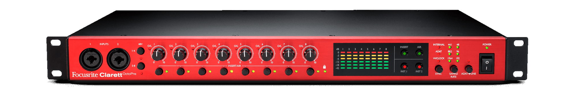 FOCUSRITE CLARETT OCTOPRE EIGHT-CHANNEL MIC PREAMP WITH ADAT CONNECTIVITY