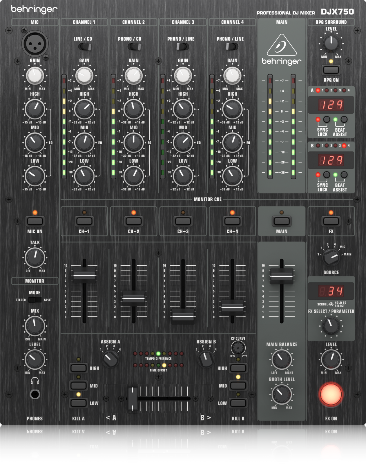 BEHRINGER DJX750 PROFESSIONAL 5-CHANNEL DJ MIXER W/ADVANCED DIGITAL EFFECTS & BPM COUNTER
