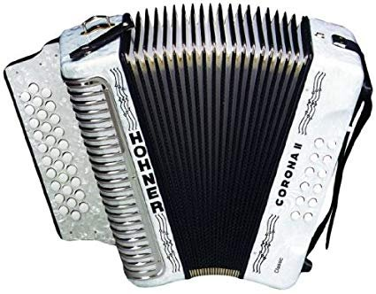 HOHNER 3523GW BUTTON ACCORDION CORONA II CLASSIC SOL WITH GIG BAG STRAPS WHITE