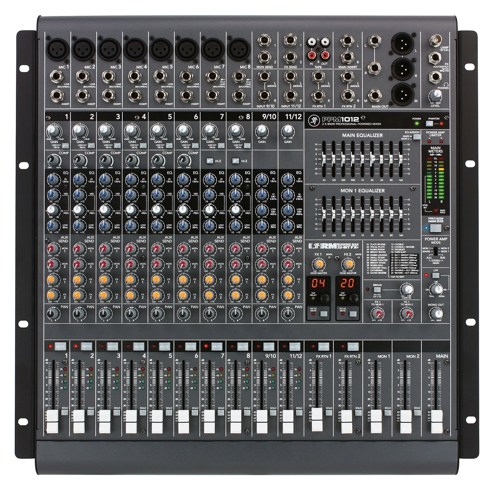 MACKIE PPM1012 12-CHANNEL 1600W POWERED MIXER W/EFFECTS
