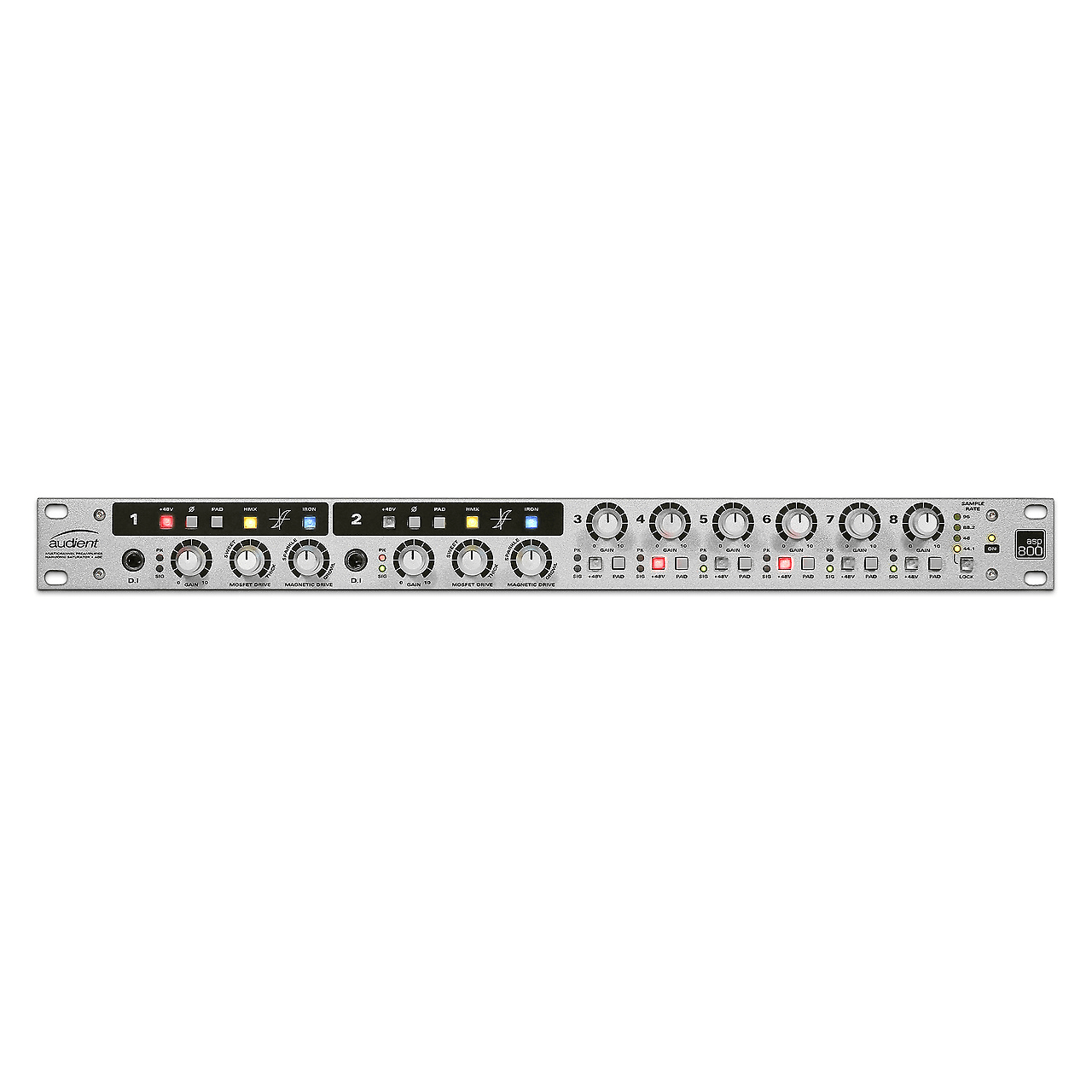 Audient Asp800 8-Channel Mic Pre & Adc W/ 2 Channels Of Hmx & Iron