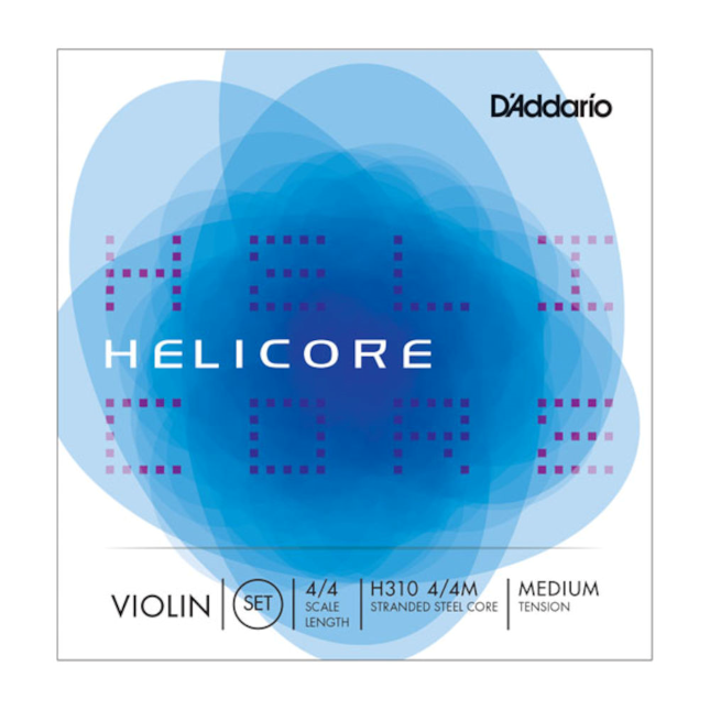 D'Addario Helicore Violin String Set, 4/4 Scale, Medium Tension