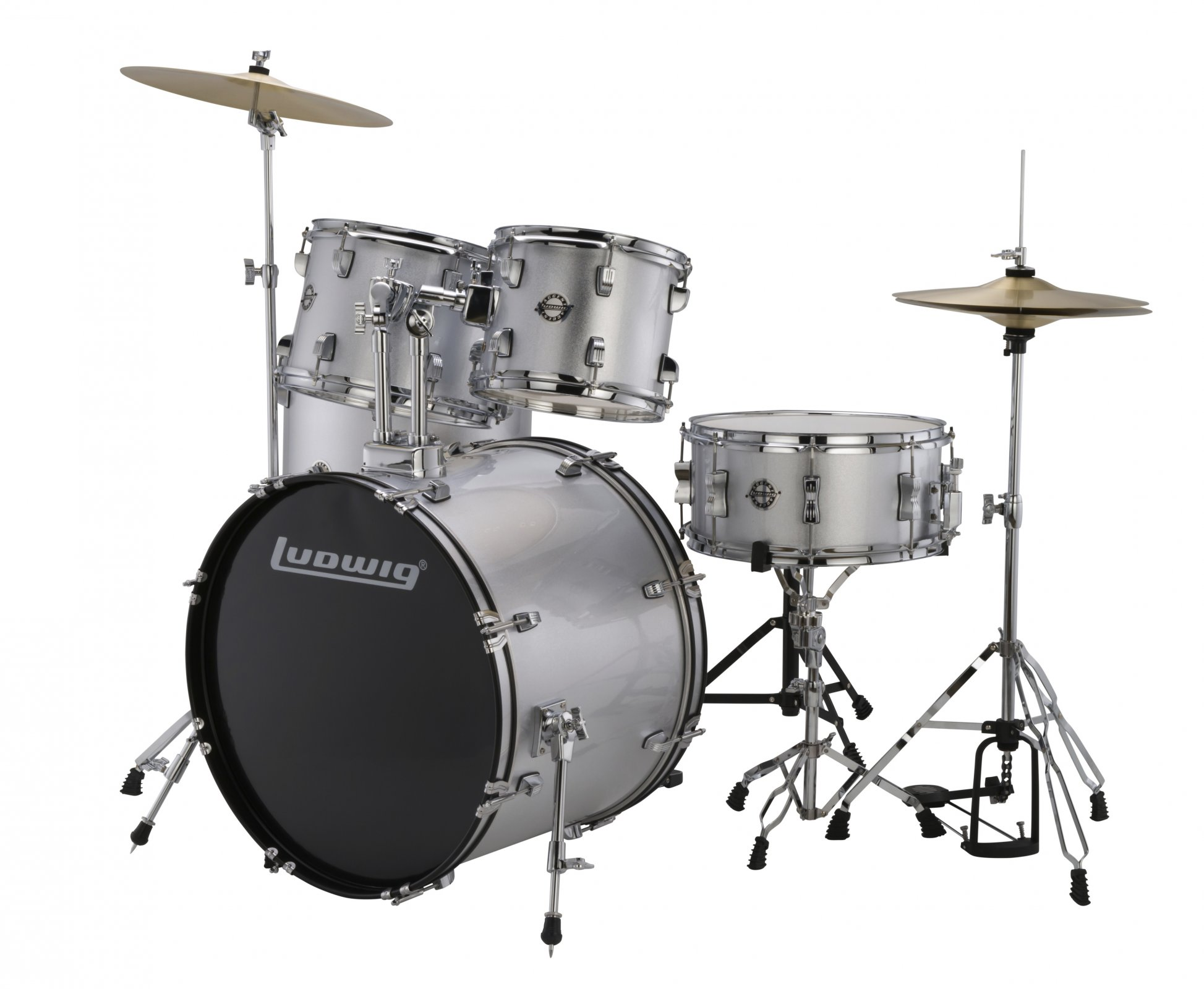 LUDWIG ACCENT DRIVE 5 PC. DRUMSET W/HW & CYMBALS SILVER