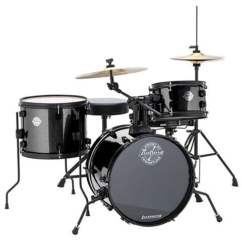 LUDWIG QUESTLOVE POCKET 4 PC. DRUMSET HW/CYMBALS BLK SPARKLE