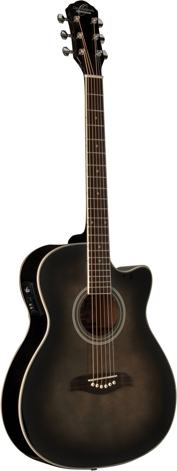 OSCAR SCHMIDT OACEFTB AUDITORIUM ACOUSTIC-ELECTRIC GUITAR FLAME MAPLE TOP, TRANS BLACK