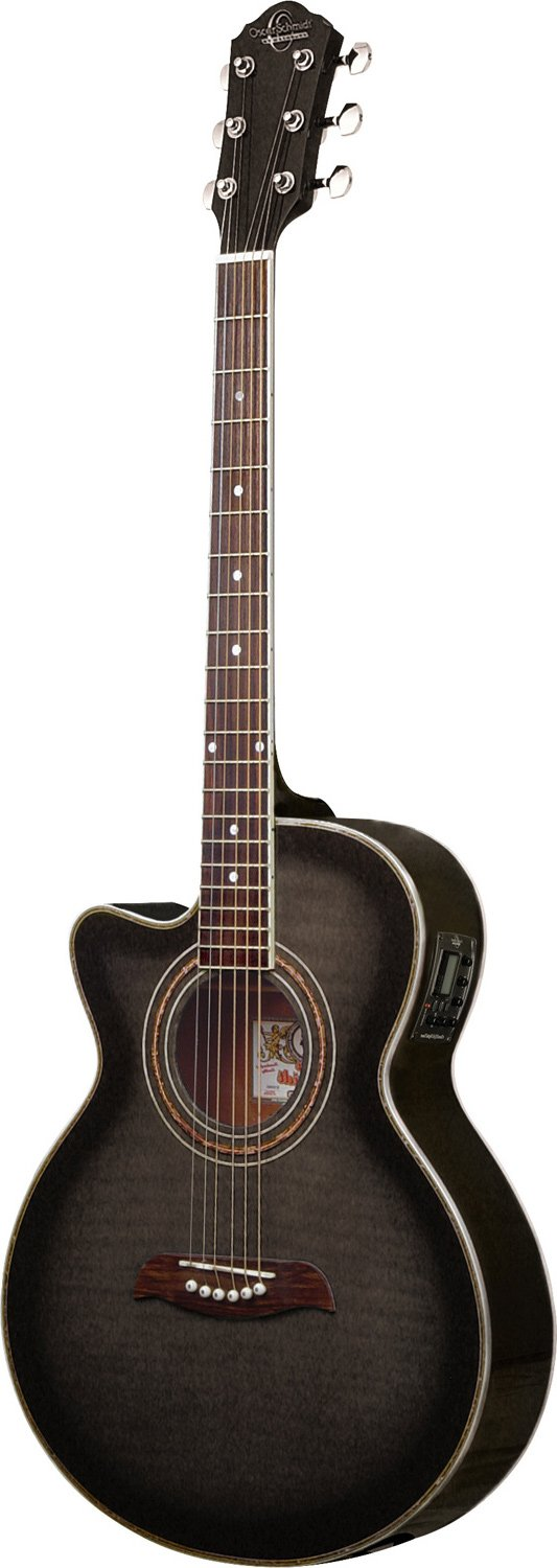 OSCAR SCHMIDT OG10CEFTBLH LEFTY CONCERT THIN ACOUSTIC-ELECTRIC GUITAR FLAME TR. BLACK