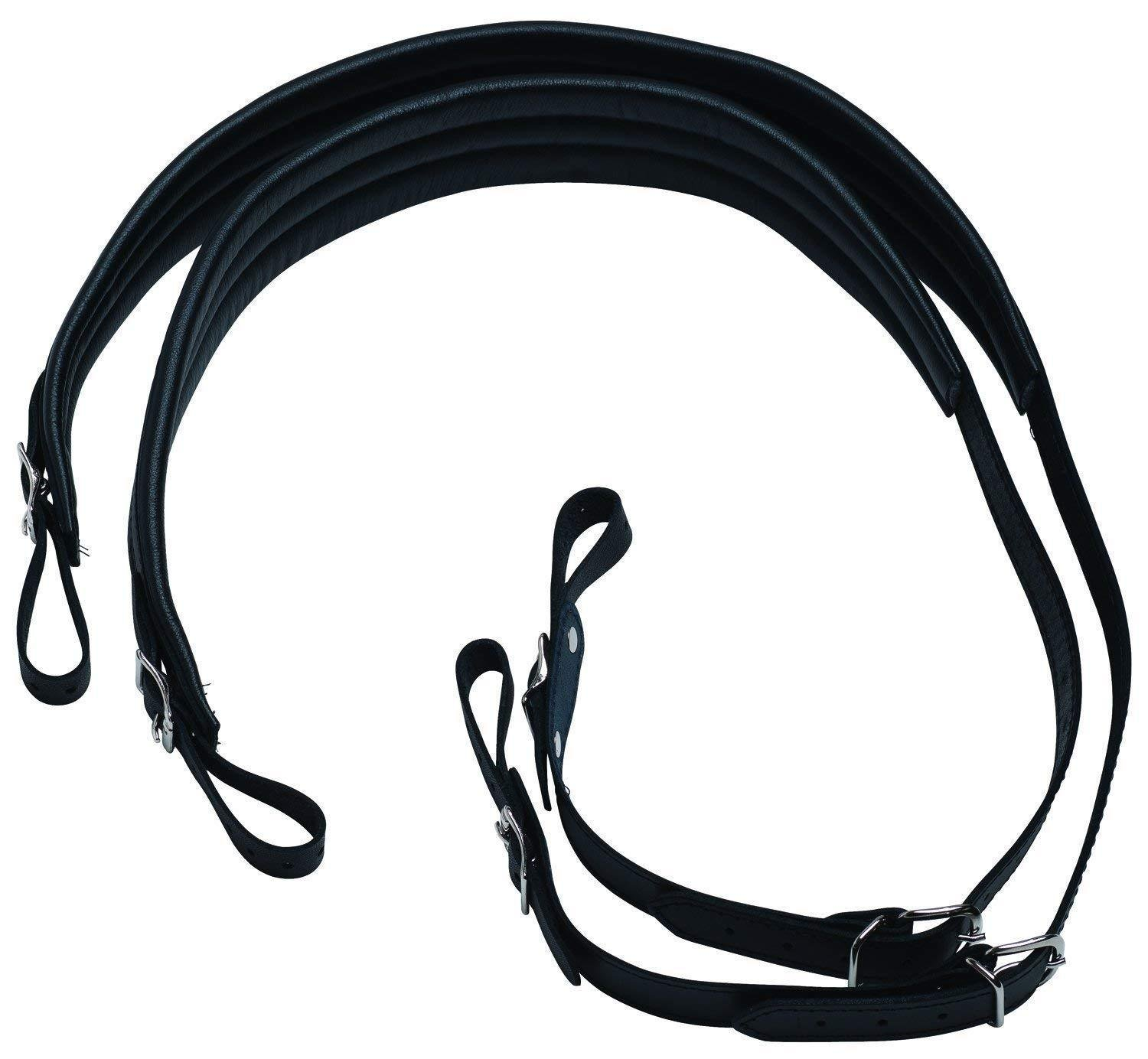 BELMONTE 3494 ACCORDION STRAP LEATHER PADDED WIDE BLACK