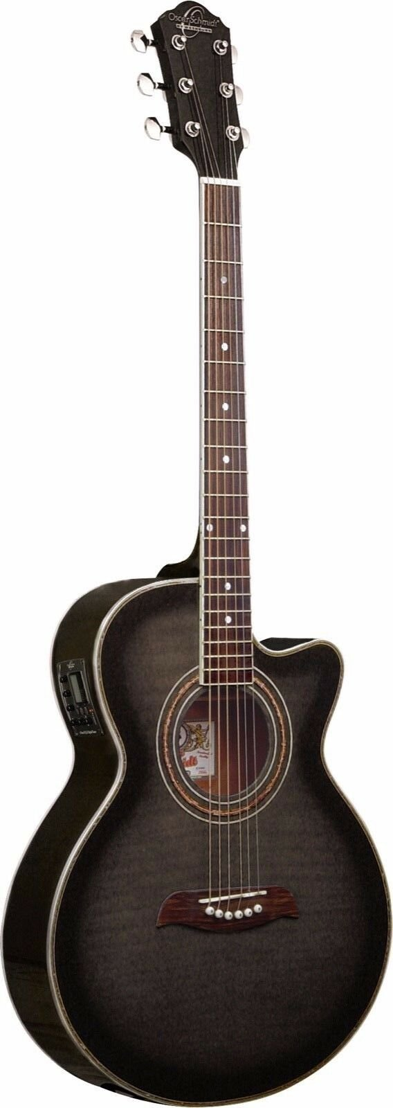 OSCAR SCHMIDT OG10CEFTB CONCERT THIN ACOUSTIC-ELECTRIC GUITAR FLAME TR. BLACK
