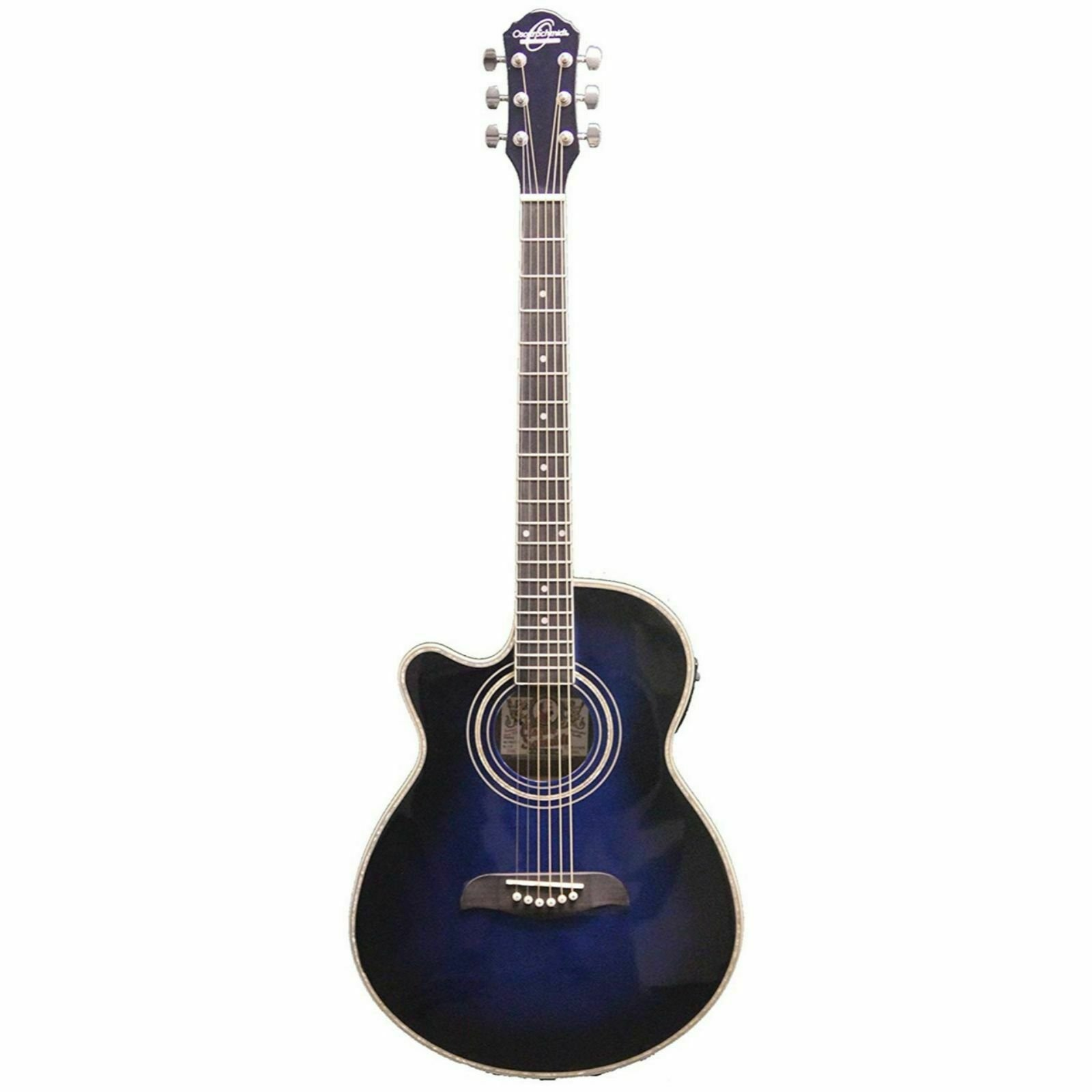 OSCAR SCHMIDT OG10CEFTBLLH LEFTY CONCERT THIN ACOUSTIC-ELECTRIC GUITAR FLAME TR. BLUE