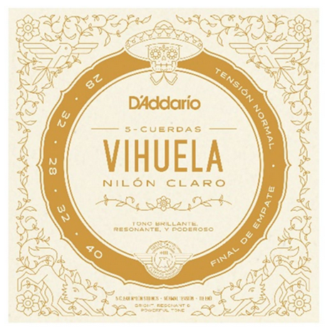 D'ADDARIO MV10N VIHUELA 5 STRING SET CLEAR NYLON NORMAL TENSION