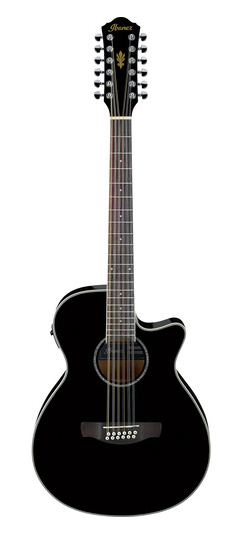 IBANEZ AEG1812IIBK 12 STRING ACOUSTIC ELECTRIC GUITAR BLACK