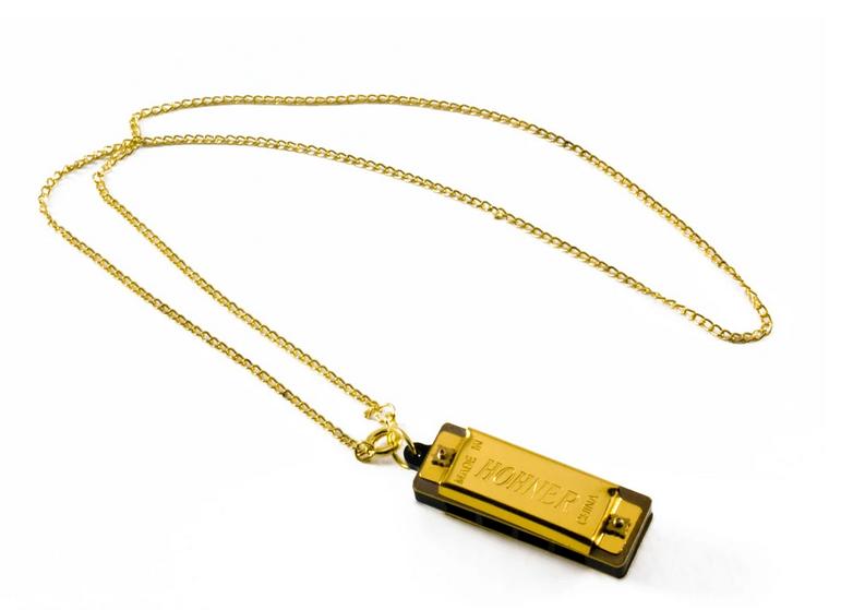 HOHNER HARMONICA 37-C MINI HARMONICA GOLD PLATED NECKLACE