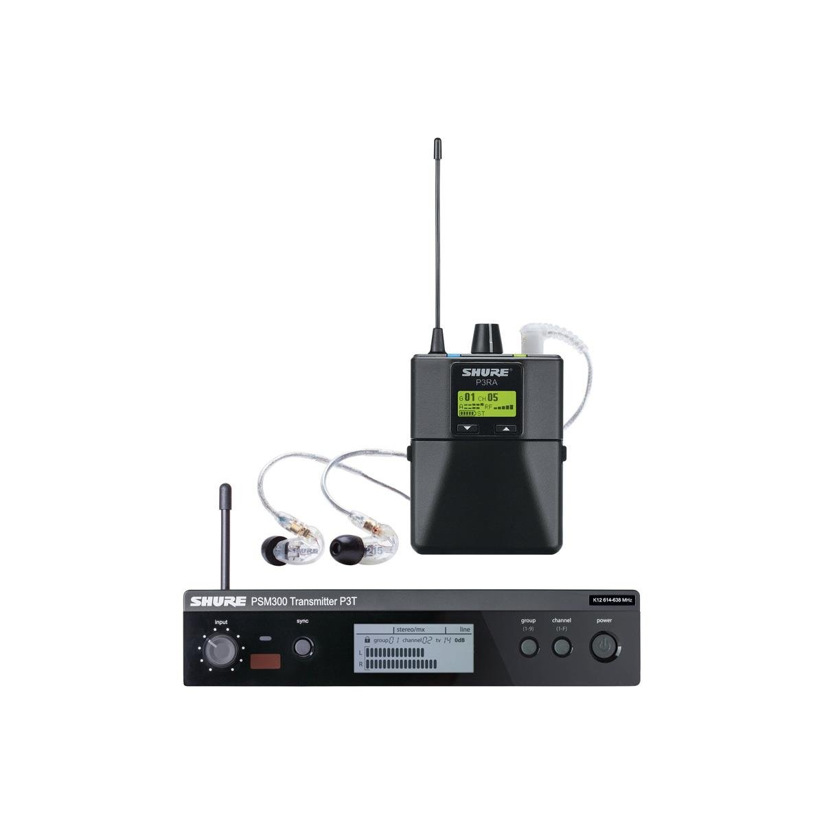 SHURE P3TRA215CL-H20 WIRELESS IN EAR MONITOR SYSTEM H20 BAND
