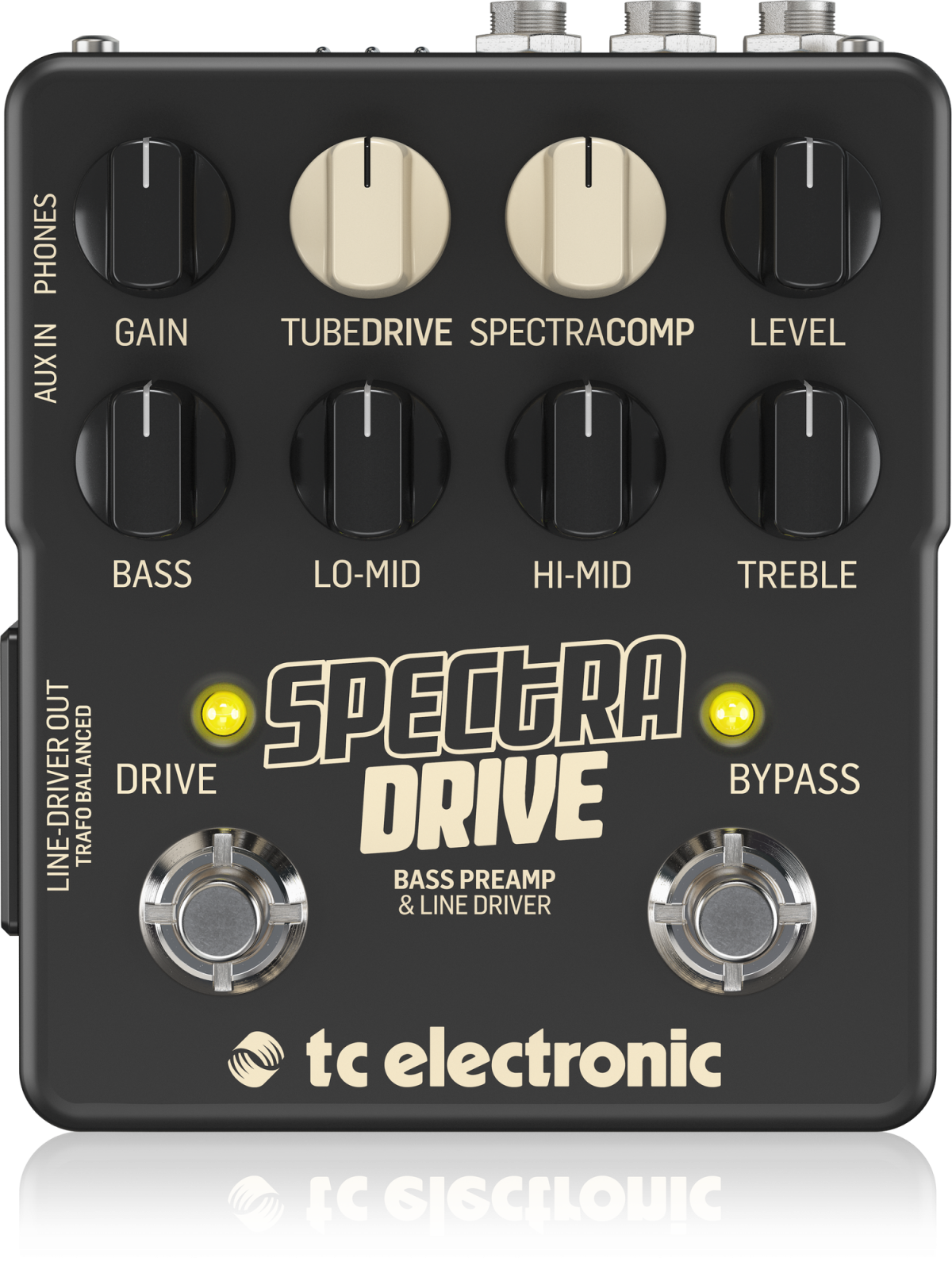 TC ELECTRONIC SPECTRADRIVE, HIGH-QUALITY BASS PREAMP AND DRIVE PEDAL WITH BUILT-IN TUBEDRIVE AND SPECTRACOMP TONEPRINTS