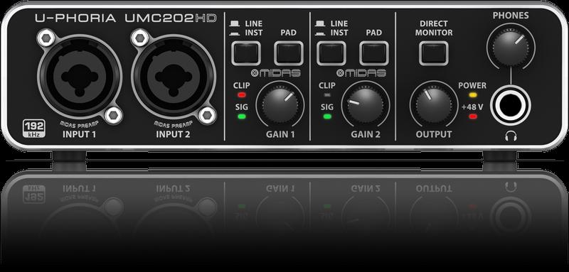BEHRINGER U-PHORIA UMC202HD USB AUDIO/MIDI INTERFACE 2x2 2