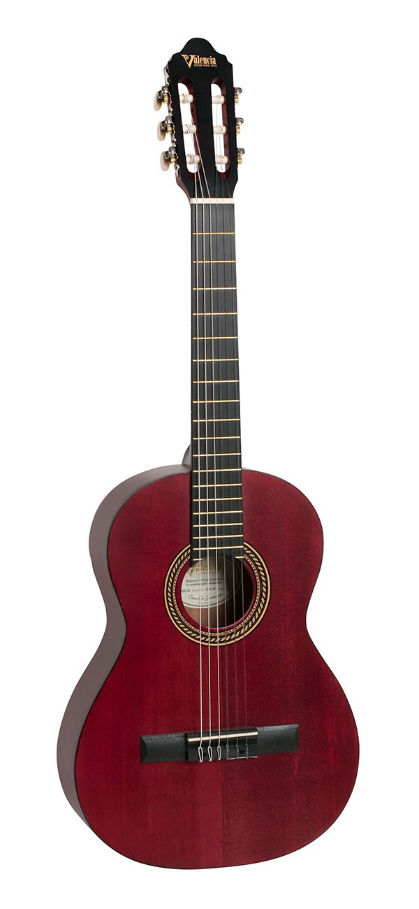 VALENCIA VC203TWR CLASSICAL GUITAR 3/4 SIZE TRANS RED