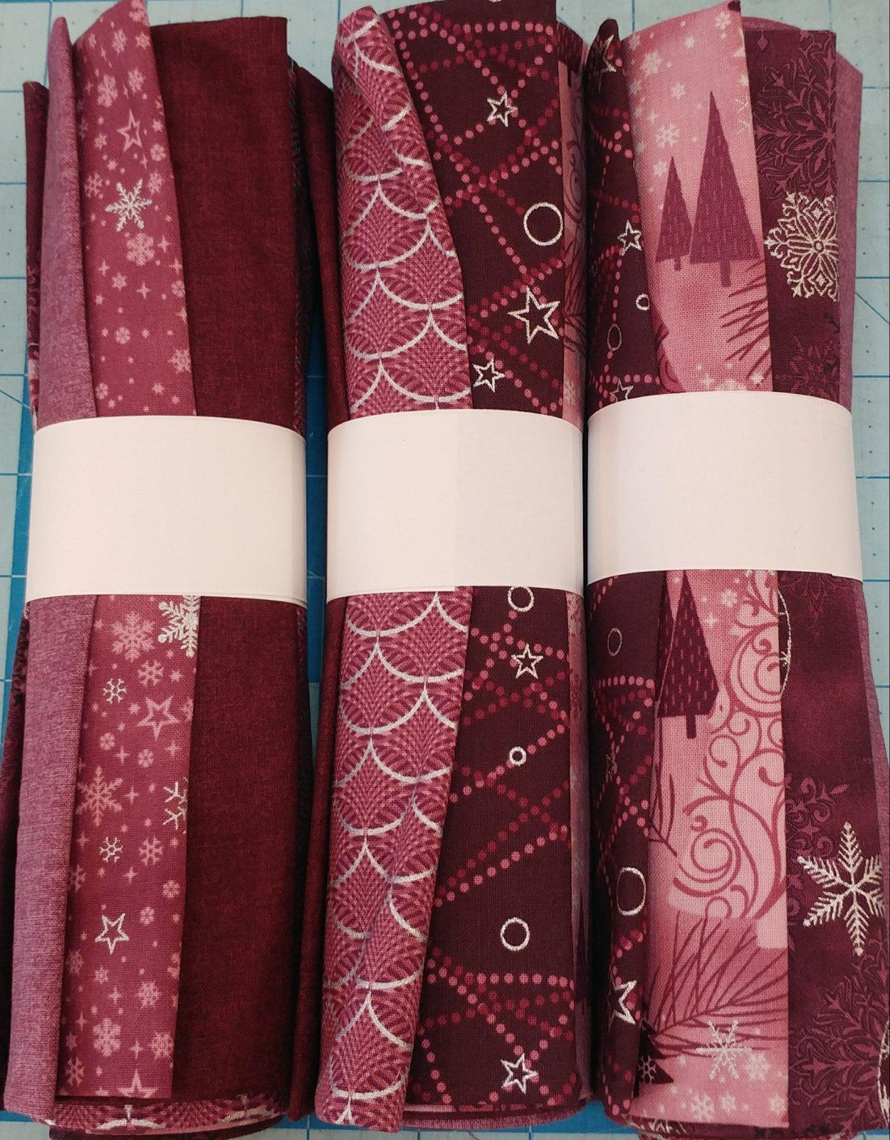 7 FQ Bundle - Christmas - Burgundy/Silver