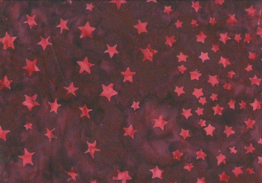 Bandana Batik - Tonal Stars - Dark Red