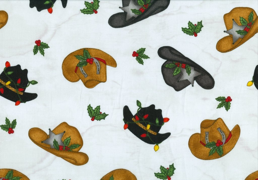 Giddy Up Santa - Tossed Cowboy Hats - White