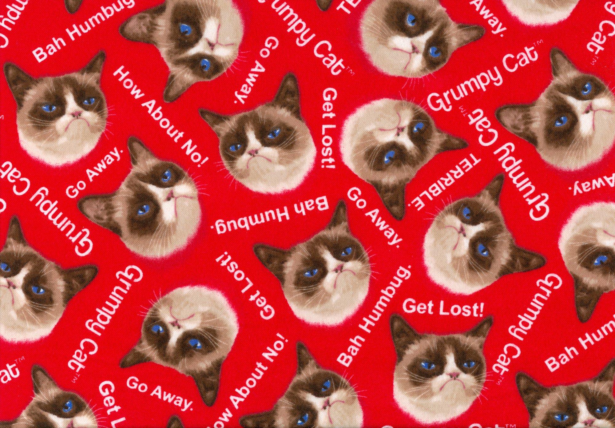 Grumpy Cat Flannel - 9722-0211 - Red FLANNEL