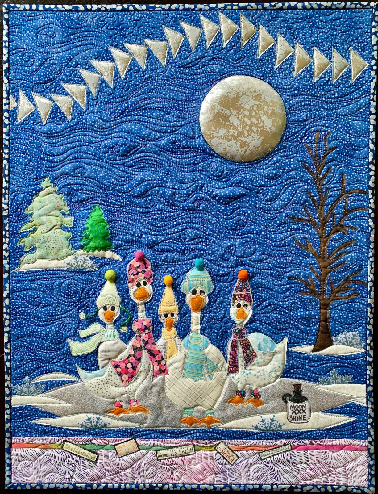 Lucky Ducks MoonShine Pattern by Leslie McNeil