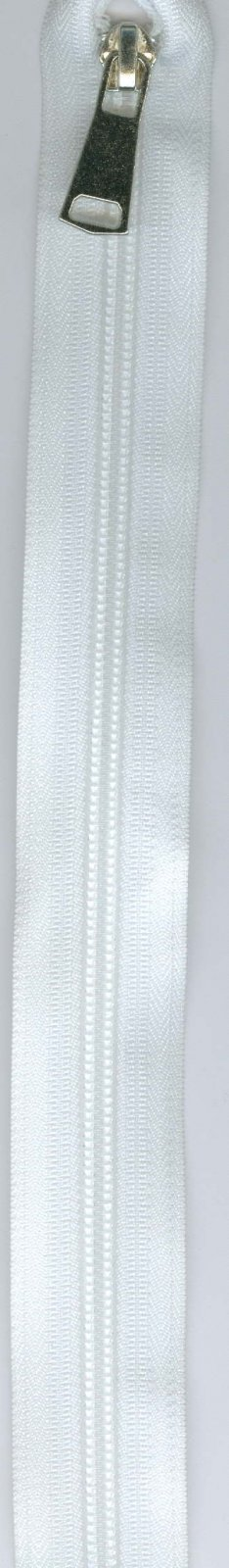16 Separating Zipper #5 - White with Silver Pull