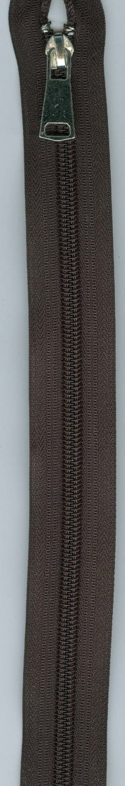 24 Separating Zipper #5 - Brown with Silver Pull