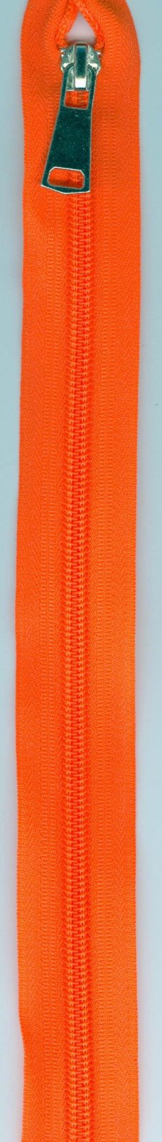 32 Separating Zipper #5 - Neon Orange with Silver Pull