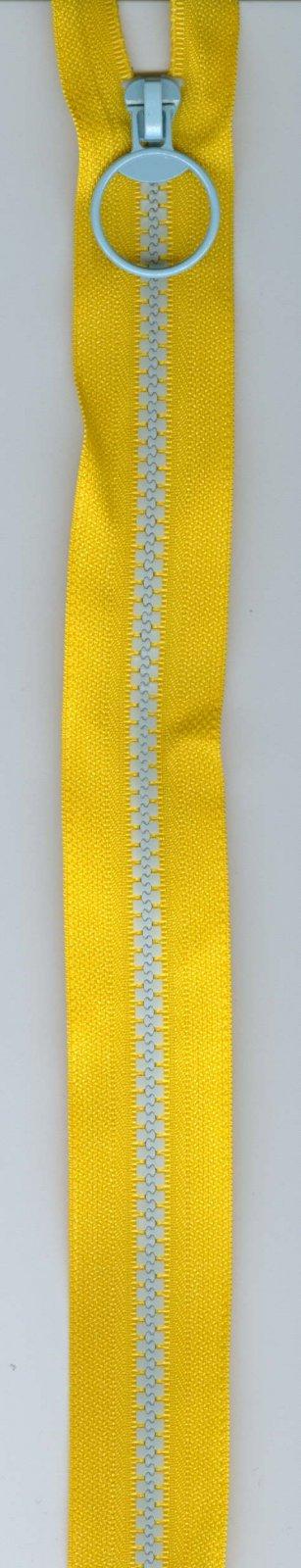 10 Zipper #5 - Yellow with Blue Teeth