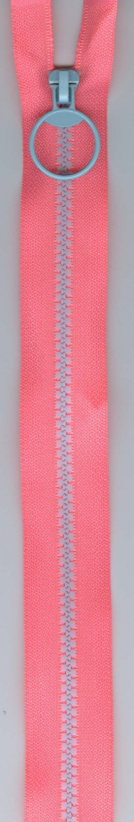 16 Separating Zipper #5 - Neon PInk with Blue Teeth