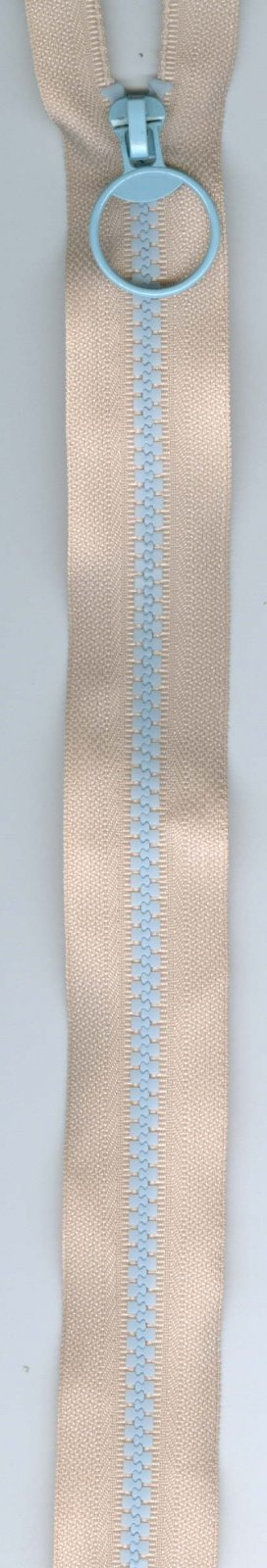 16 Separating Zipper #5 - Light Pink with Blue Teeth