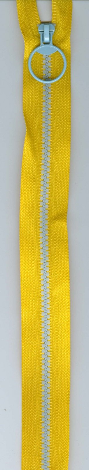 16 Separating Zipper #5 - Yellow with Blue Teeth